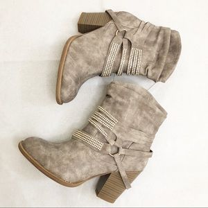 Brand new rhinestone faux suede ankle booties 8.5